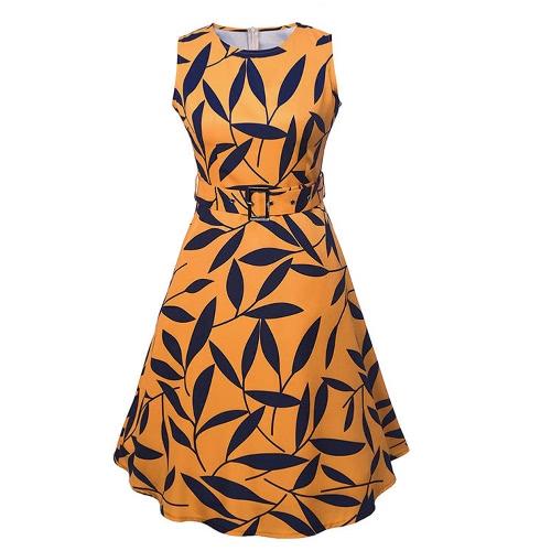 Frauen Blatt drucken 50er 60er ärmel Retro-Kleid Vintage-Rockabilly-Partei-Schwingen-Kleid Schwarz / Gelb