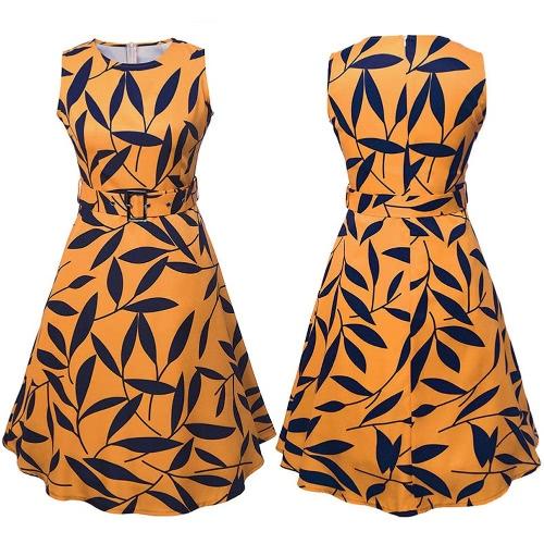 Donne Foglia 50s Stampa '60 maniche retro vestito Rockabilly partito Vintage swing Black Dress / Giallo