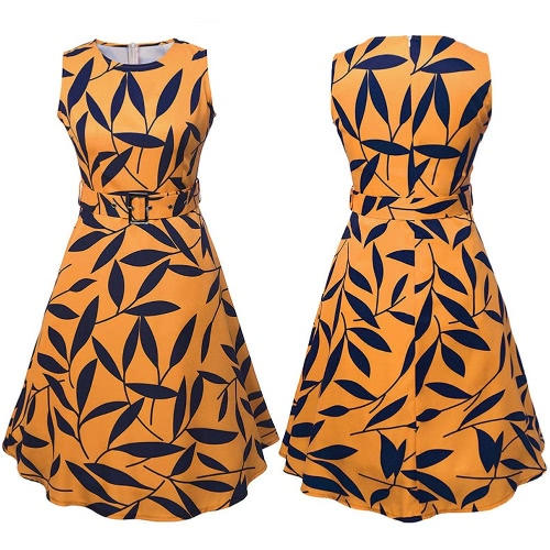 Women Leaf Print 50s 60s Sleeveless Retro Dress Vintage Rockabilly Party Swing Dress Black/Yellow G8322Y-S