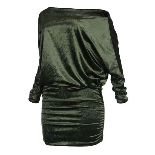 Sexy Frauen Samt-Kleid weg von der Schulter-lange Hülse Bodycon Nachtclub-Party-Mini-Bleistift-Kleid