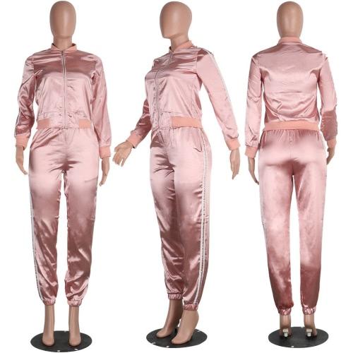 Женщины из двух частей Установить Блуза Брюки Stripes Длинные рукава молнии эластичный пояс вскользь Спортивная Top Брюки Pink / Royal Blue