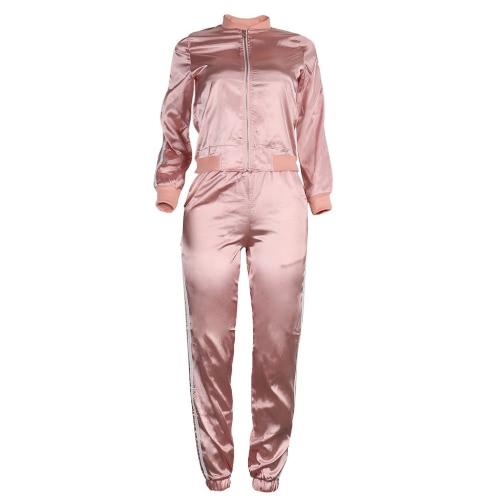 Mulheres Two-Piece Set Blusa Calças Stripes mangas compridas Zipper elástico na cintura Casual Sportswear Top Calças Rosa / Royal Blue