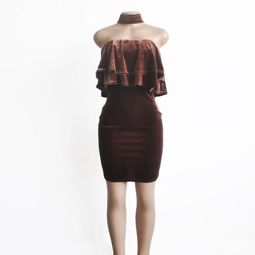 Neue reizvolle Frauen-Samt, figurbetontes Kleid Strapless Choker gekräuselten Overlay ärmel Slim Mantel-Partei-Kleid