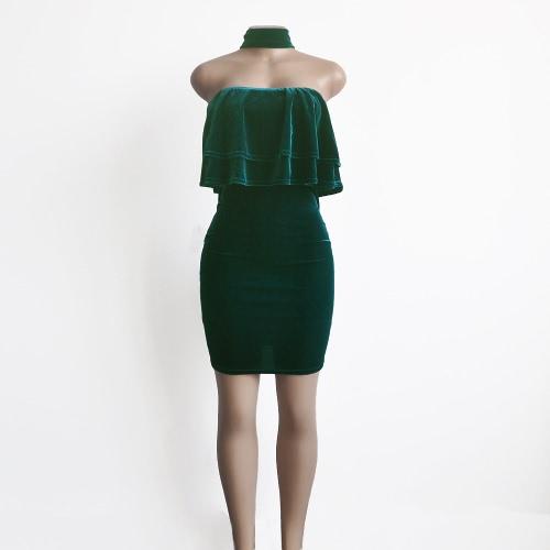 Vestido de las mujeres la nueva del terciopelo Vestido ajustado sin tirantes con volantes Gargantilla superposición delgado sin mangas del partido de la envoltura