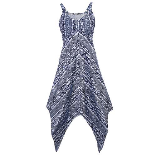 女性のプリントドレスノースリーブ非対称裾シャーリングフロントVネックハイウエストAラインストレッチパーティードレス