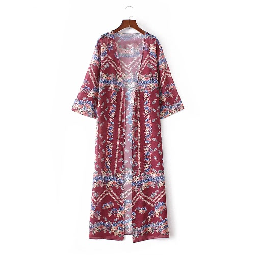 Women Kimono Floral Print Open Front Three Quarter Loose Long Boho Vintage Beach Cover Up Cardigan Burgundy