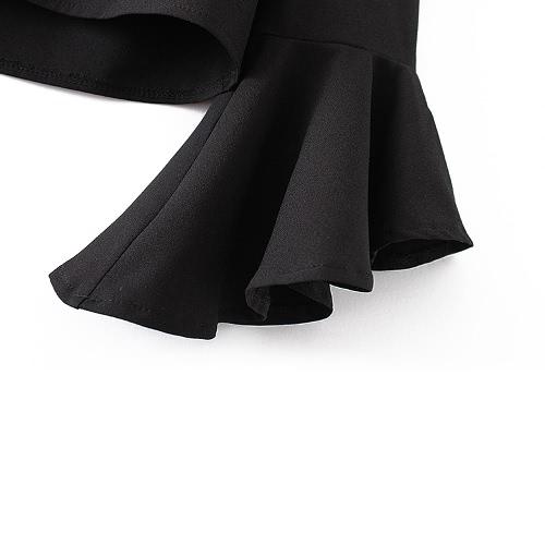 Ricamo delle donne ritagliata Top Floral Applique con scollo a V asimmetrico del chiarore maniche Scontornabile Bassiera camicetta nera