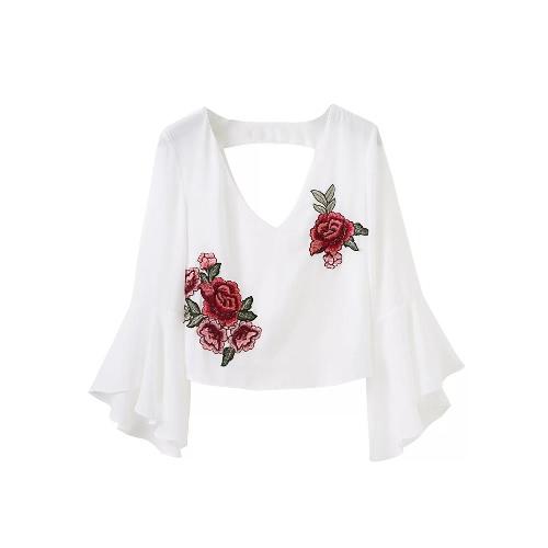 女性の刺繍クロップドトップの花のアップリケVネック非対称フレアスリーブカットアウトクロップトップブラウスブラック/ホワイト