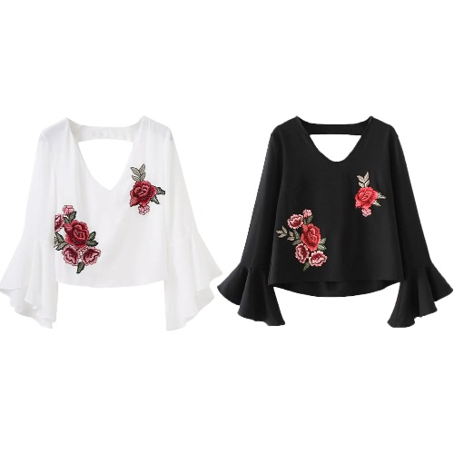 Frauen-Stickerei geerntet Top Floral Appliques V-Ausschnitt asymmetrische Flare Ärmel ausgeschnitten Crop Top Bluse schwarz / weiß