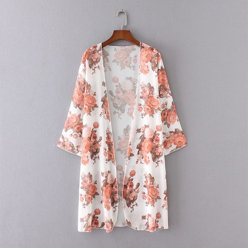 Women Beach Kimono Chiffon Floral Print Open Front Oversize Long Boho Casual Cover Up Cardigan White
