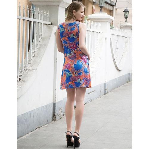 Las mujeres mini vestido geométrico floral