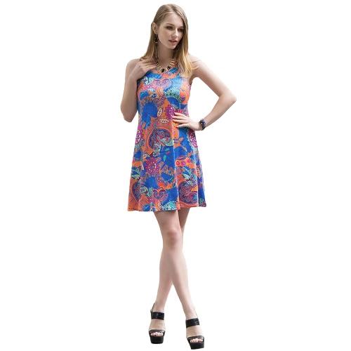 Las mujeres mini vestido geométrico floral de la impresión atractiva de la cucharada sin mangas del cuello del patinador colorido vestido amarillo / rosa / azul
