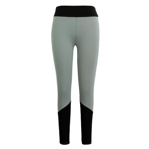 Neue Frauen-Sport-Yoga-Gamaschen Farbe Splice Stretch Fitness Gym Lauf Bodycon beiläufige Hosen Hose Grau