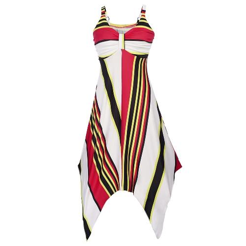 Playa de las mujeres vestido sin mangas de impresión geométrica de la raya V dobladillo asimétrico oscilación Boho una sola pieza ocasional azul / amarillo