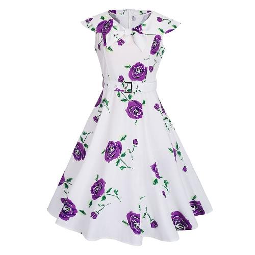 Forme a mujeres retro del vestido de la impresión de Rose Rockabilly Party oscilación vestido púrpura / azul / rojo
