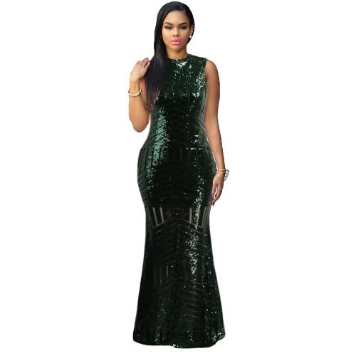 Atractivo de las mujeres de Bodycon vestido largo maxi de la sirena de lentejuelas sin respaldo O-Cuello de la cremallera del vestido de noche elegante del cóctel