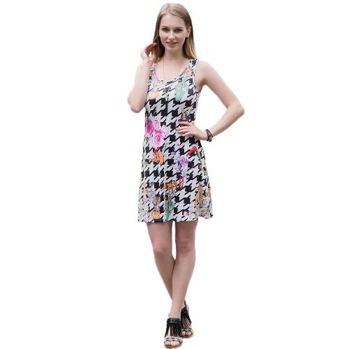 Kobiety Moda Retro Sukienka Vintage Geometria Print kamizelka bez rękawów szyi Round-line Sukienka czerwony / żółty / czarny