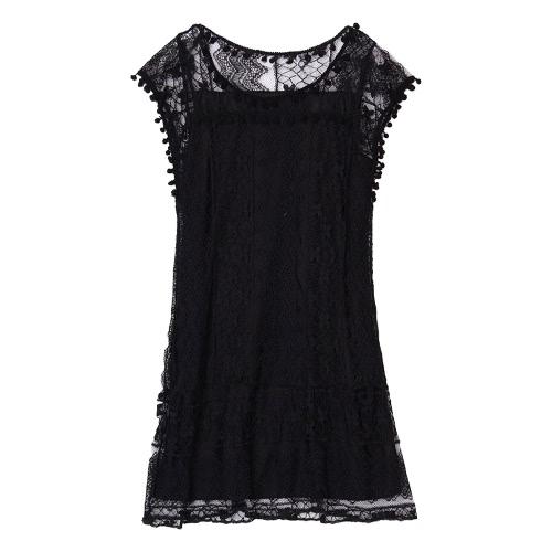 Vestido sin mangas de las mujeres del verano del cordón del cuello de O la borla ocasional del mini vestido recto Shift Vestido de tirantes Vestido Blanco / Negro