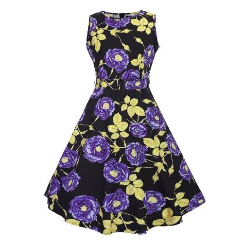 Neuer Frauen-Midi-Kleid Vintage Blumen Pint O-Ansatz Sleeveless Gurt ...