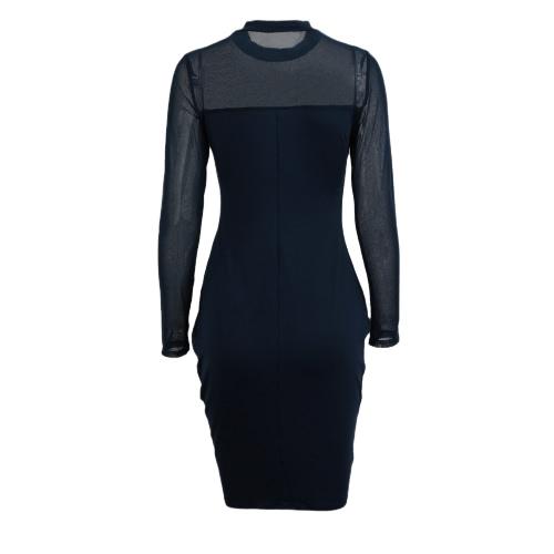 Sexy Frauen-Kleid Halb schiere Splice Solid Color Stehkragen langen Hülsen-Verein, figurbetontes Kleid