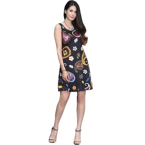 New Mulheres Verão Mini vestido floral vintage impressão mangas Casual A-Line vestido Tanque Vestido preto / azul / branco