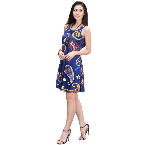 Nuevo verano de las mujeres mini vestido floral de la vendimia de impresión sin mangas ocasional de una línea de vestidos del vestido del tanque Negro / azul / blanco