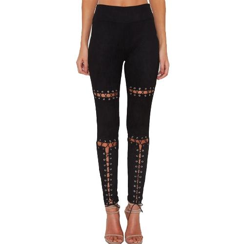 New Sexy Mulheres Faux Suede Leggings Lace-Up Bandage cintura alta magros calças justas magros BODYCON Lápis Calças