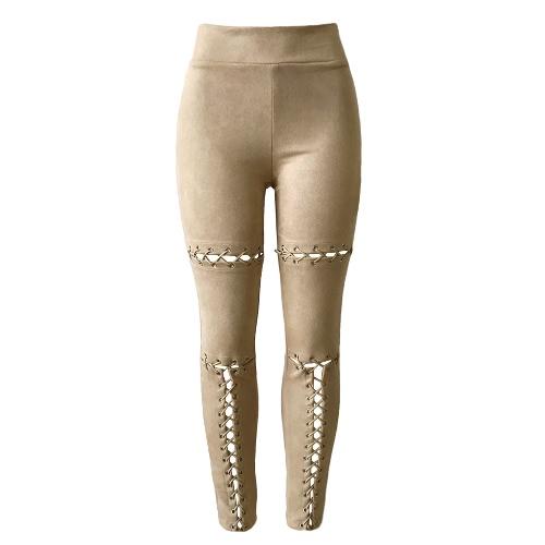 Las mujeres nuevos atractivos gamuza sintética con cordones de las polainas del vendaje de la cintura alta pantalones flacos de las medias delgadas de Bodycon del lápiz Pantalones