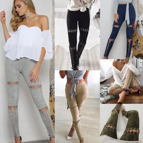 Новый сексуальный Женщины Замша Faux гетры шнуровке бинты высокой талией Узкие брюки колготки тонкий карандаш брюки-футляр фото