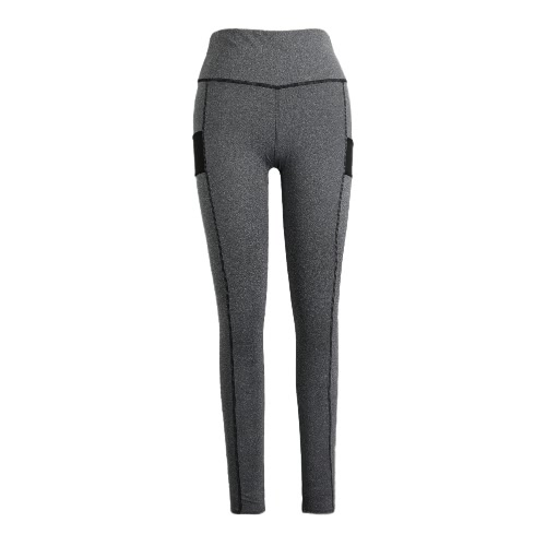 New Women Sport Yoga Leggings Splice Color Stretch Fitness Gym Running Bodycon Casual Pants Trousers Grey