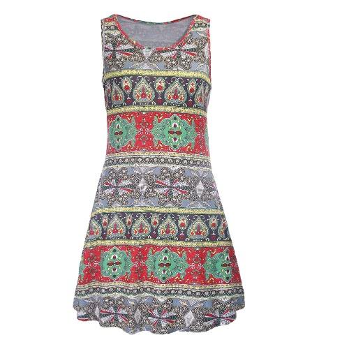 Mulheres mangas New Vintage Mini Vestido Bohemian Geometric Imprimir O-Neck Casual Vestido de Verão Verão vermelho / azul / verde