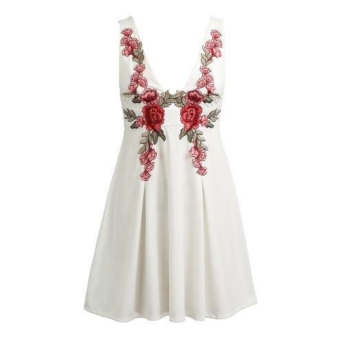 Frauen Stickerei Plunge-Kleid mit tiefem V ärmel mit hoher Taille Applizieren beiläufige Mini Skater-Kleid A-Linie Sundress Weiß / Schwarz