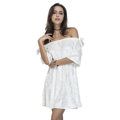Terciopelo de las mujeres fuera del hombro vestido sin tirantes elásticos de la raya vertical del cuello del arco recto Shift flojo blanco de mini vestido