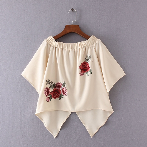 Nowy letni Off Shoulder koszulka kwiatowym haftem Flare Sleeve Nieregularne Hem Casual Luźny Top Beżowy