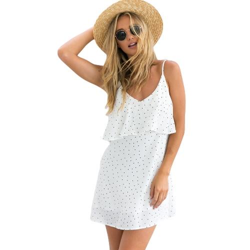 Las nuevas mujeres de los lunares del mini vestido de la correa de espagueti cuello en V sin respaldo colmenas de la playa del verano del vestido blanco / azul marino