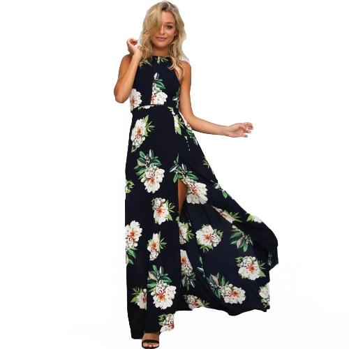 Las mujeres de la gasa de la impresión floral sin mangas de Split sin respaldo ahueca hacia fuera la playa maxi elegante del partido del vestido de una sola pieza