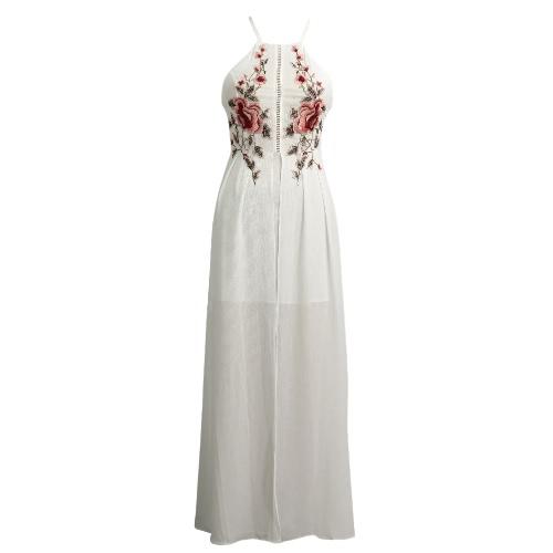 Mujeres largo atractivo de Split vestido floral bordado apliques espalda cruzada sin mangas de la playa de las vacaciones de verano Maxi vestido Negro / blanco / azul oscuro