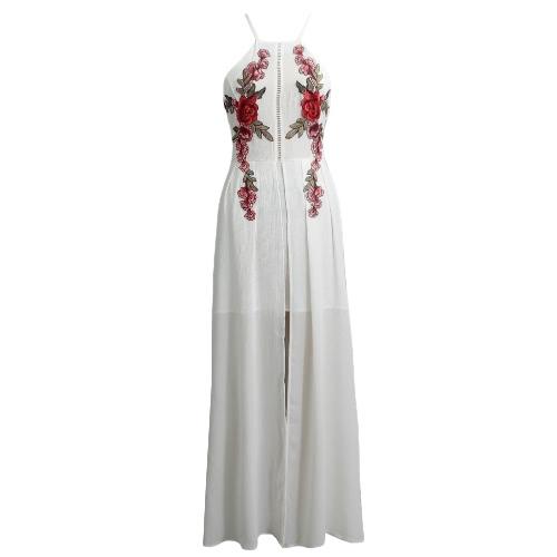 Sexy Women Long Split Dress Floral Embroidery Applique Cross Back Sleeveless Summer Beach Holiday Maxi Dress White