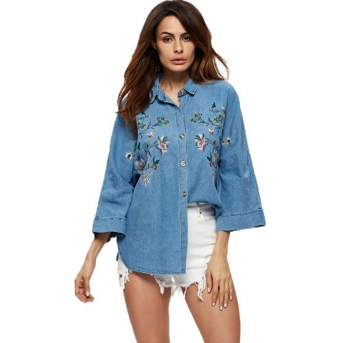 Mulheres Moda Denim Shirt Turn Down Collar 3/4 bordado Feminino Blusa Top Azul