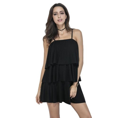 New Sexy mulheres Deslizamento Vestido Três Layered Ruffles Spaghetti Strap mangas Ruched Sólidos Mini vestido preto