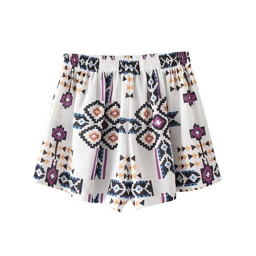 Frauen-Druck-Chiffon- kurze Hosen-elastische Taillen-Sommer-Third Shorts verursachende Strand Heisse Höschen Weiß