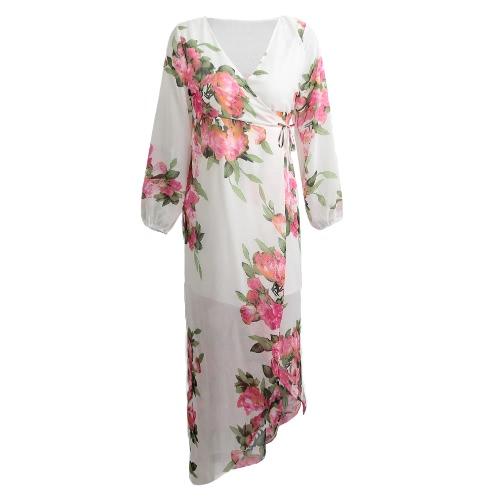 Atractivo de las mujeres de la gasa larga maxi vestido fino flora Imprimir profundo cuello en V manga larga de vacaciones de Split elegante vestido blanco