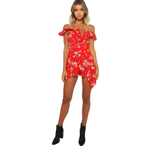 Nowy Sexy Women Chiffon Print Body Plunge dekolt Tie Zipper Playsuit Kombinezon Kombinezony Red