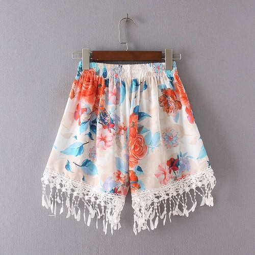 Women Tassel Shorts Summer Print Shorts Elastic High Waist Casual Beach Hot Pants Orange