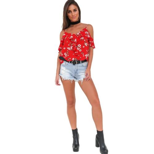 Nueva Verano Hombro de la gasa de la camiseta de la correa de espagueti floral de la llamarada de la manga floja ocasional rojo superior