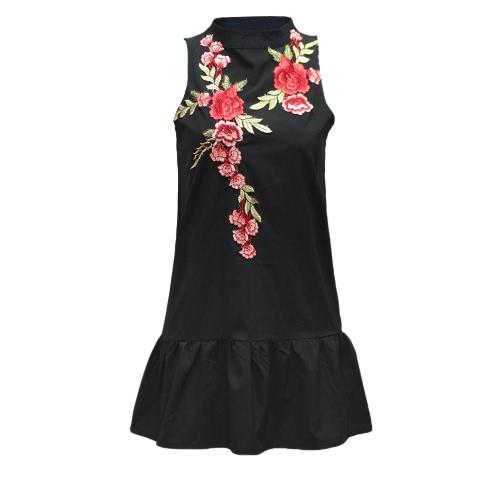 TOMTOP / Mujer atractiva del vestido del bordado del collar del soporte Backless sin mangas del hueco del dobladillo hacia fuera del doblez elegante vestido de Negro