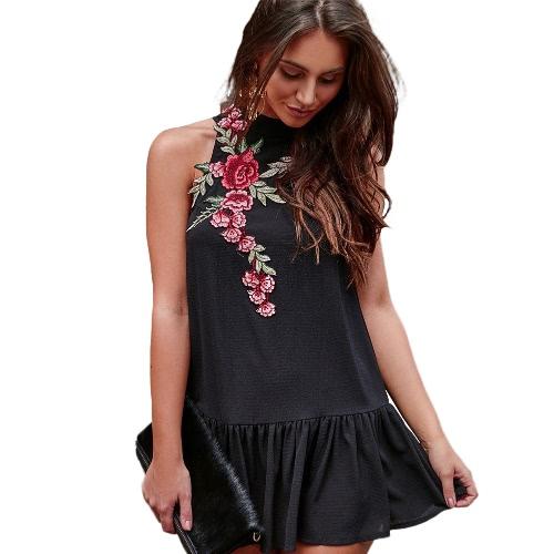 Sexy Women Dress Embroidery Stand Collar Sleeveless Backless Hollow Out Fold Hem Elegant Dress Black