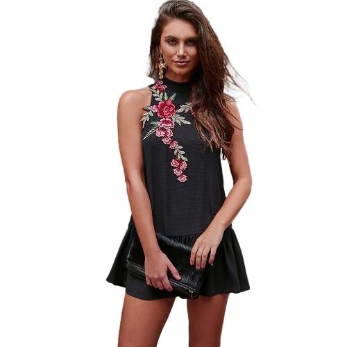 Mujer atractiva del vestido del bordado del collar del soporte Backless sin mangas del hueco del dobladillo hacia fuera del doblez elegante vestido de Negro