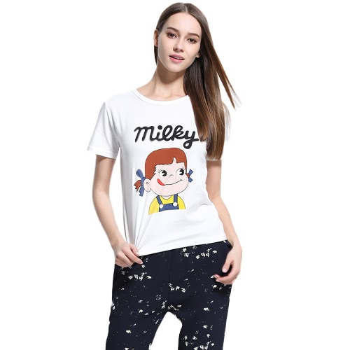 New Fashion Women T-shirt Top Letter Cartoon Print O-Neck Short Sleeves Pullover Casual Blouse White
