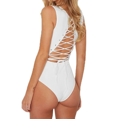 Cut Out Lace Up Back RoundNeck Sleeveless Women's Bodysuit